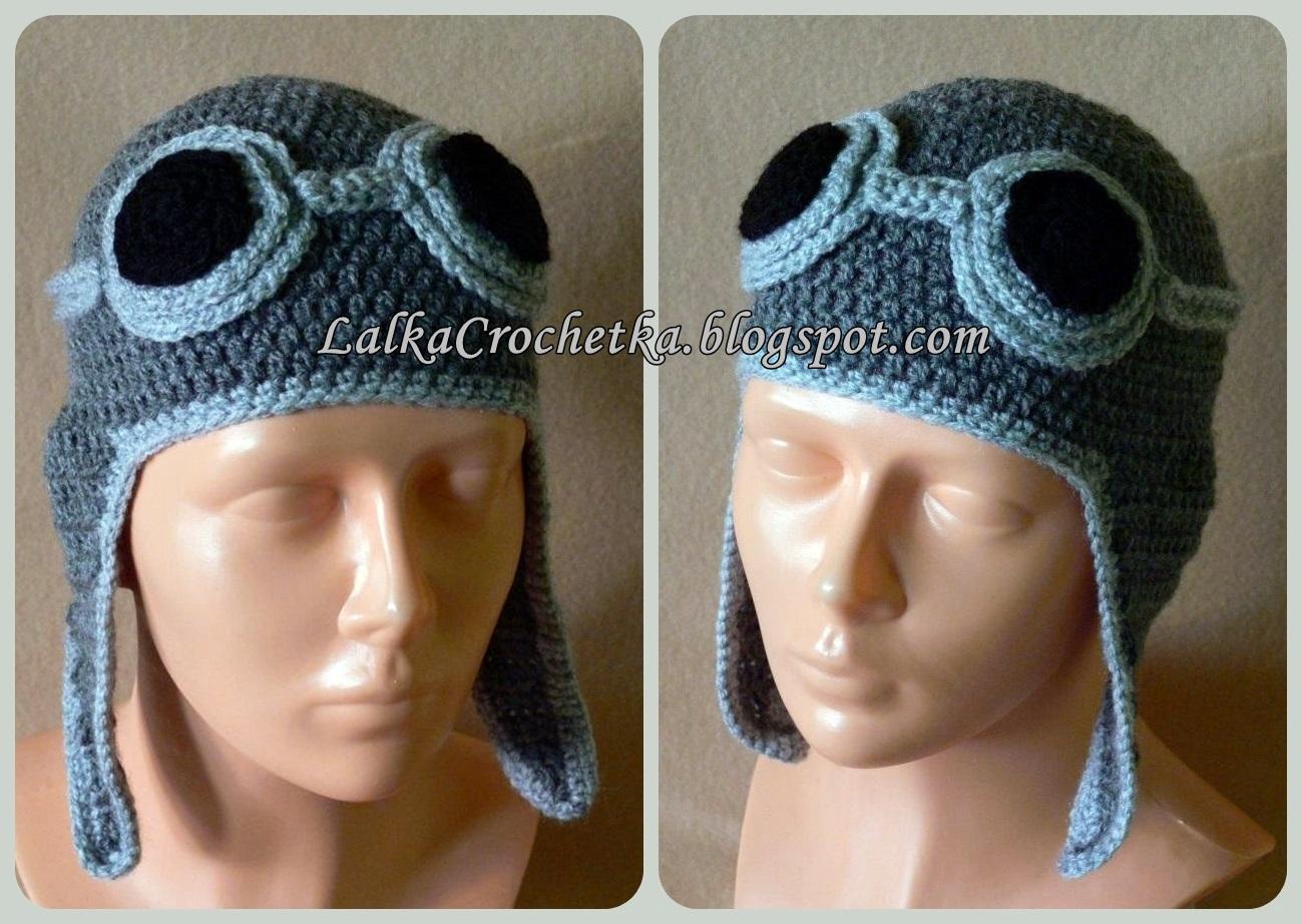 http://lalkacrochetka.blogspot.com/2014/01/pilotka-crochet-aviator-hat.html