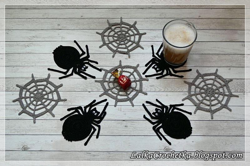 http://lalkacrochetka.blogspot.com/2016/10/spider-cobweb-coasters-podkadki-pajaki.html
