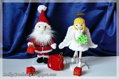 http://lalkacrochetka.blogspot.com/2016/12/christmas-angel-and-santa-claus.html